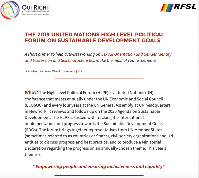 The 2019 United Nations High Level Political Forum on Sustainable Development Goals