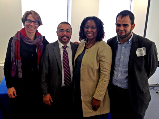 Marianne Møllmann, Andrés Rivera Duarte, and Wilson Castañeda with Tracy Robinson, Chair of the Inter-American Commission on Human Rights (IACHR)